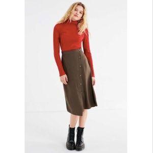 UO Green Olive Diagonal Button-Down Midi Skirt SM